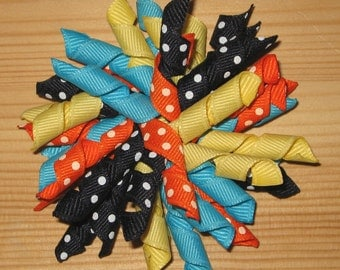 Sizzlin' Summer Korker Bow - Navy, Orange, Blue, Yellow Hair Bow
