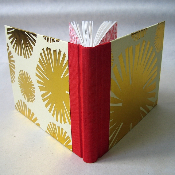 Small Blank Book / Journal with Red Spine and Gold Cover