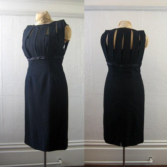 50's 60's Black Cocktail Dress - Medium
