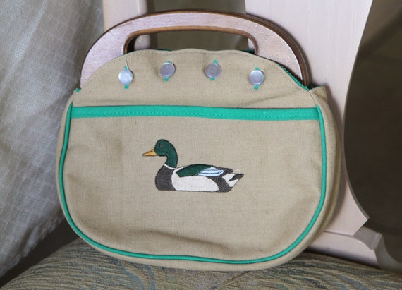 1980's Wood Handle Bermuda Bag
