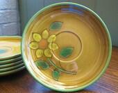 Vintage Metlox Poppytrail Gold Dahlia Saucers -- Set of Six