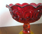 Vintage Amberina Compote by L G Wright Glass Co -- Moon and Stars Pattern