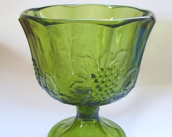 Vintage Indiana Glass Compote in Olive Green -- Harvest Pattern with Grapes and Leaves