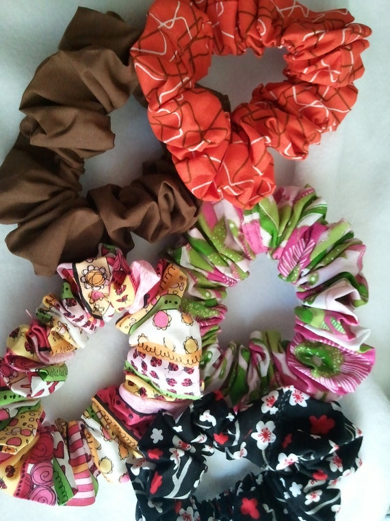 Colorful cotton solid / print  hair  scrunchies hair tie assortment