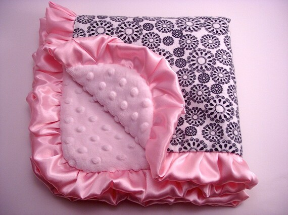 Luxury Baby Blanket Lovey Security Size - Black and White Dotted Circle Flannel and Light Pink Minky with Ruffle