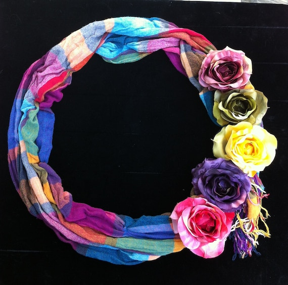 Plaid and Roses Wreath