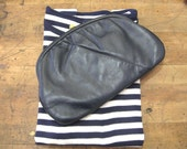 On the Town Vintage Navy Leather Clutch