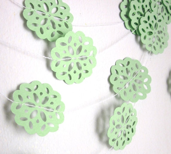 Mint Green Garland - Spring Garland - Winter Garland - Wedding Garland - Paper Garland - Mint Fresh