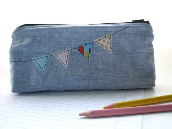 Pencil case, zippered pouch, Bunting