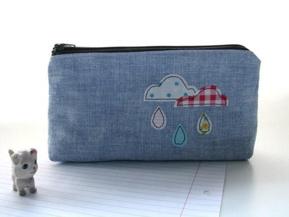 Pencil pouch, pencil case, cloudy