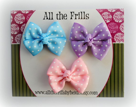 Liliana - Set of 3 Pastel Pinwheel Bows - Toddler Hair Bows - Infant Hair Clips - Hair Accessories
