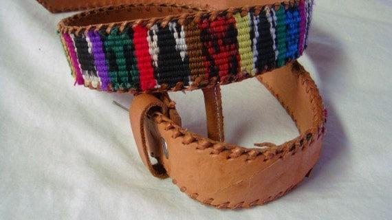 Sister Nebraska  Multi Color Rainbow Tan Leather Belt One Size