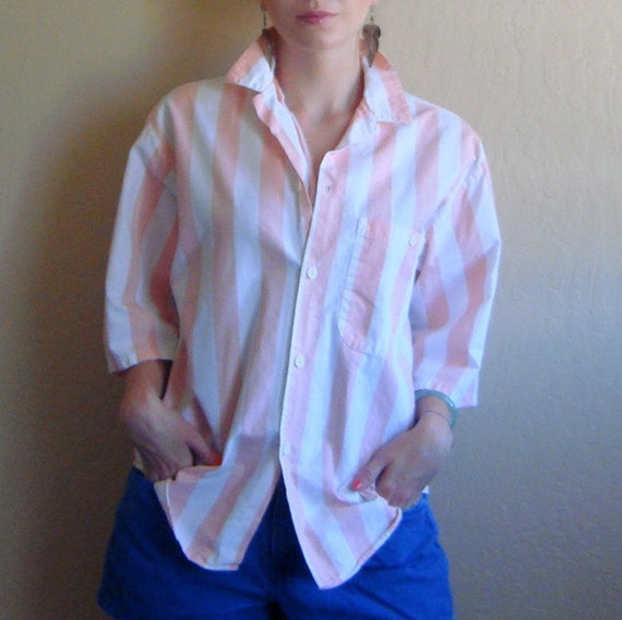 Creamsicle  Light Orange and White Vertical Stripe Cotton Button Down with 3/4 Sleeves Size Med/Large