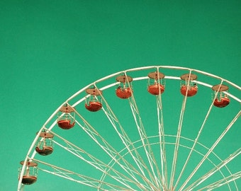 Carnival photography, ferris wheel in turquoise sky, dreamy nursery room decor, summer 6x10
