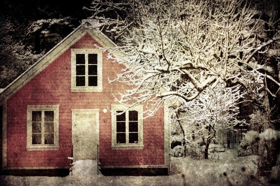 Pink house photographic print, snow winter Norway scene, 8x10 art photograph, affordable home decor