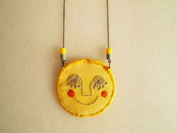 Sol, embroidered necklace