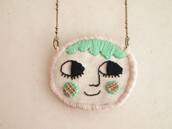 RESERVED Smiling face, embroidered necklace