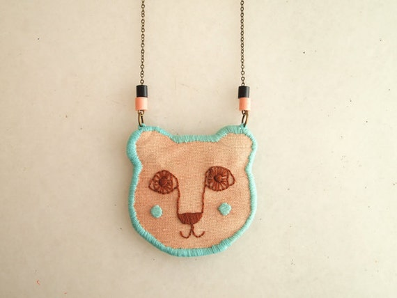 RESERVED Grizzly bear, embroidered and watercolored necklace