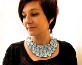 Leather Bib Statement Necklace in Blue with Butterfly