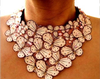 Bridal Butterfly Bib Necklace in Pink