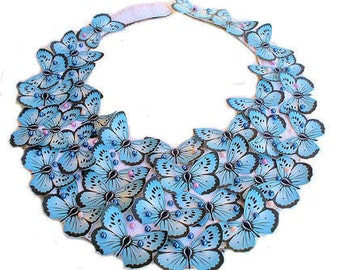 Blue Butterfly Bib Statement Necklace with pearls