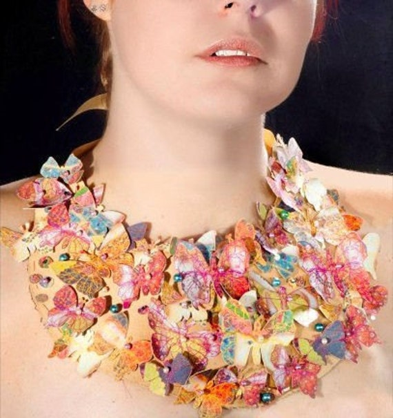 Wearable Art Necklace in Gold with Butterflies.