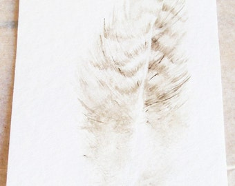 Original Watercolor Painting Tiny Feather
