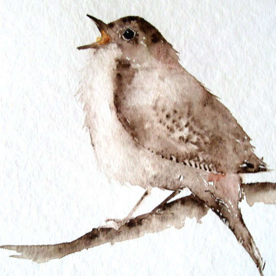 Little Brown Songbird - Original Watercolor Painting