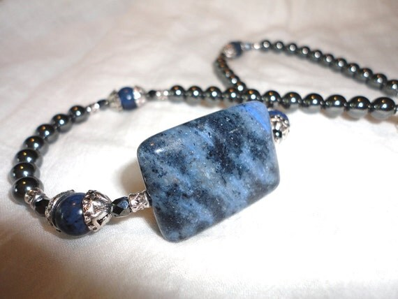 Dumortierite Necklace - Gemstone Necklace - with Hematite - Matching pieces available