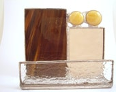 Brown and carmel stained glass business card holder