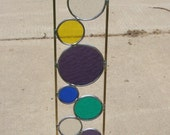 Stained glass garden art stake purple blue yellow green yard decoration