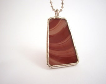 Purple mauve stained glass trapezoid pendant