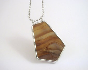 Earthy brown and cream stained glass statement piece pendant