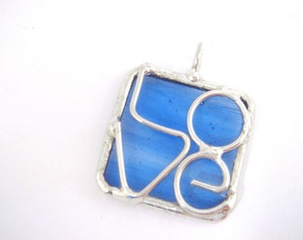 Light blue love stained glass square pendant with wire design