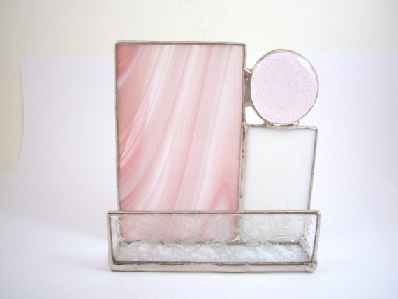 Soft pink and white stained glass business card holder