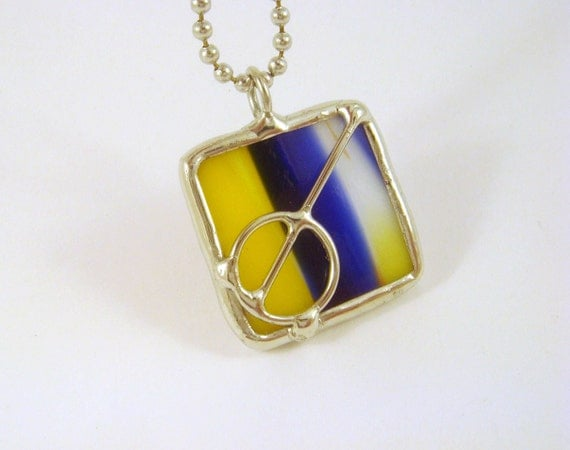 Stained glass pendant blue yellow square with wire design