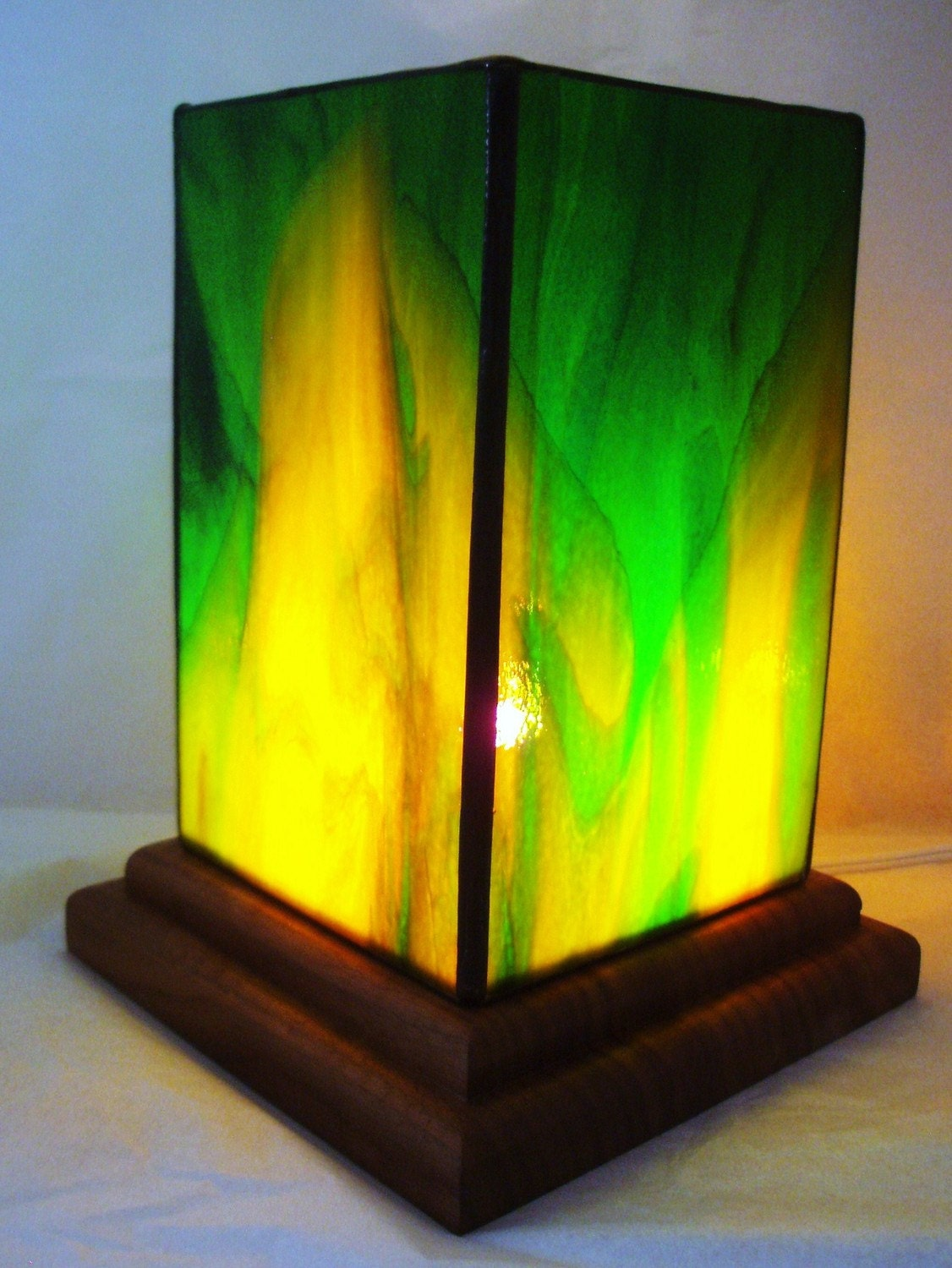 Green And Yellow Stained Glass Table Lantern