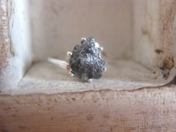 Black Raw Rough Diamond engagement - promise ring