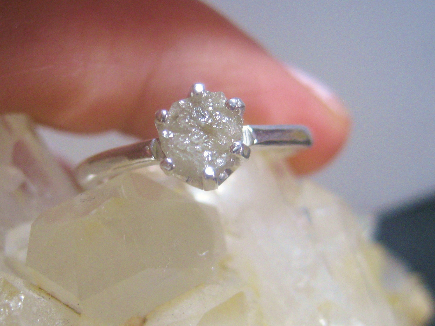 Raw Rough natural uncut Diamond Solitaire Engagement Ring