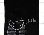 Owl Hello towel - Handpainted linen dishcloth - Black linen owl towel - Perfect gift for housewarming - Hostess gift - Woodland