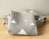 White Triangles on Grey linen dishcloth - Triangles tea towel - Gray and White towel