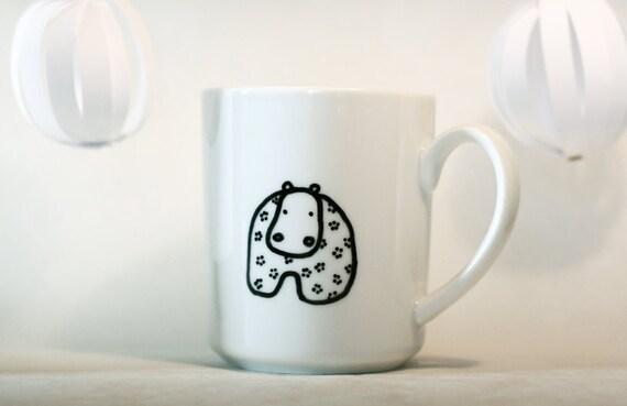 William the hippopotamus mug - White porcelain handpainted mug 30cl - approx.10 fl oz - Ready to ship