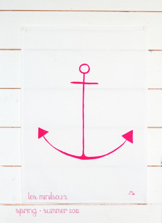 Anchor Towel - Handpainted Tea Towel - Neon pink - Ready To Ship