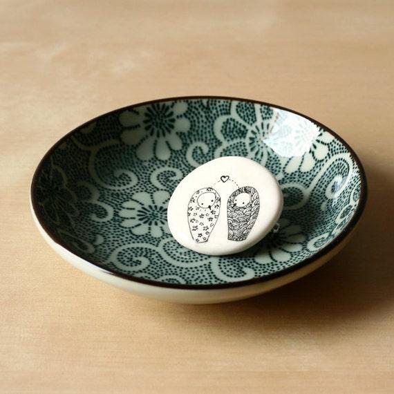 Owls in Love - Owl white brooch - Handdrawn - Woodland fashion accessory