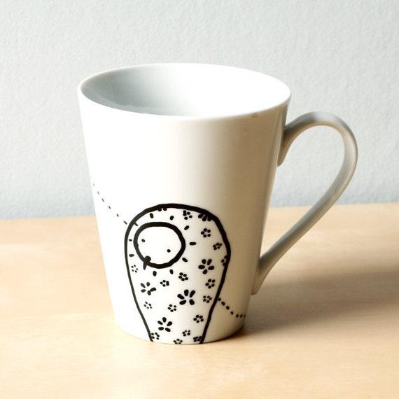 Two owls Mug - Handpainted mug - Ready to ship