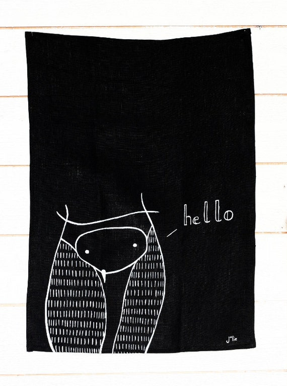 Owl Hello towel - Handpainted linen dishcloth - Black linen owl towel - Perfect gift for housewarming - Hostess gift - Woodland