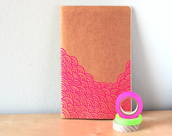 Waves notebook in neon pink - Handpainted moleskine with waves pattern