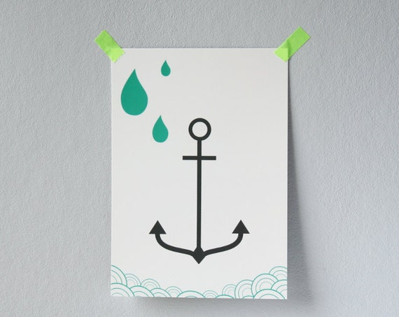 Anchor and Raindrops postcard - Professionnally printed illustrated postcard - Anchor card