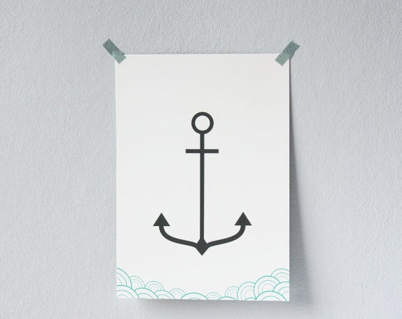 Anchor and Waves postcard - Professionnally printed illustrated postcard - Anchor and Waves card - Grey and teal blue
