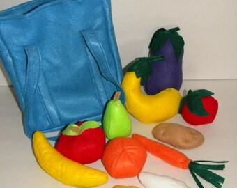 Produce Bag - Full Set of Felt Fruits and Vegetables